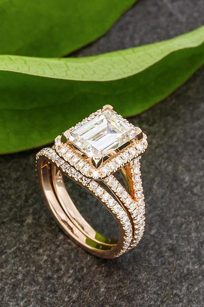 rose gold wedding rings emerald cut halo pave band split