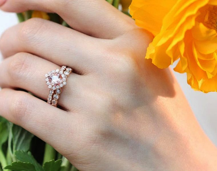 rose gold wedding rings halo pave band morganite
