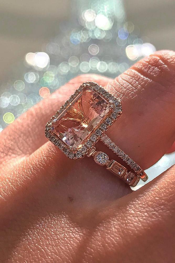 rose gold wedding rings pave band halo morganite