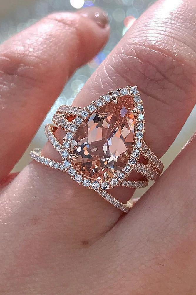 rose gold wedding rings pear cut halo split