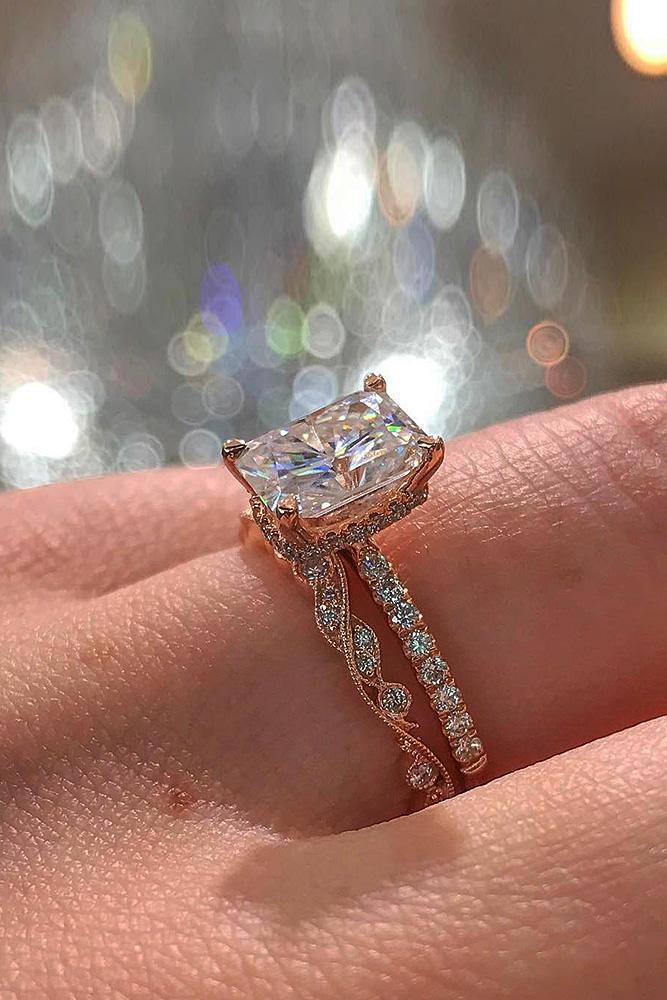 rose gold wedding rings princess cut diamond pave band