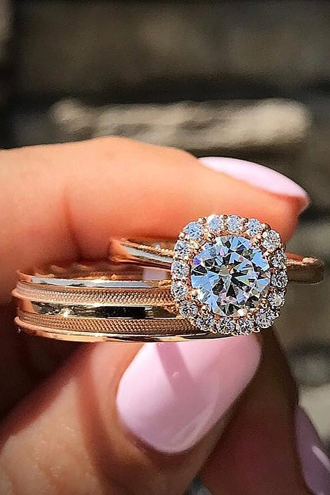 rose gold wedding rings round cut diamond halo simple pave band for him and for her amazing