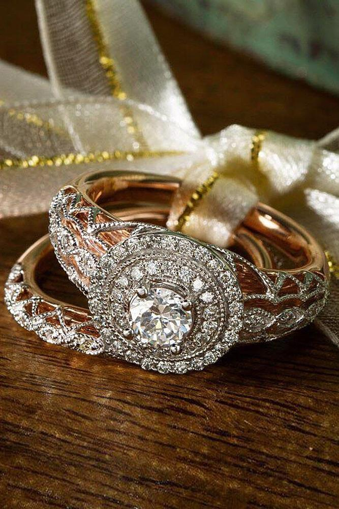 rose gold wedding rings round cut diamond halo unique pave band with vintage elements