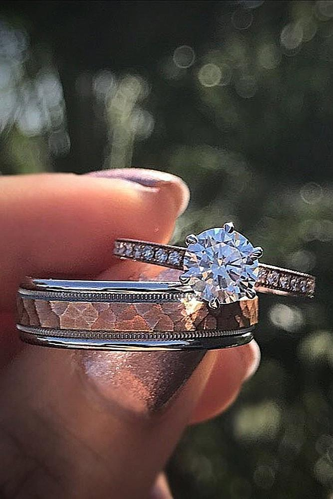 rose gold wedding rings round cut diamond simple pave band for him and for her classic