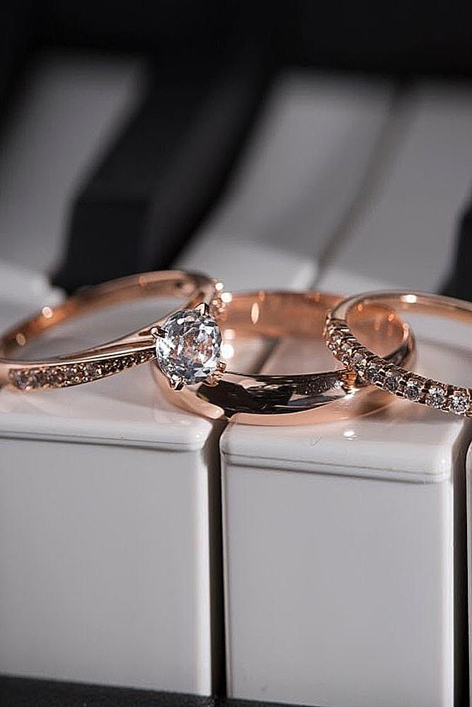 rose gold wedding rings round cut diamond solitaire simple pave band for him and for her sparkling