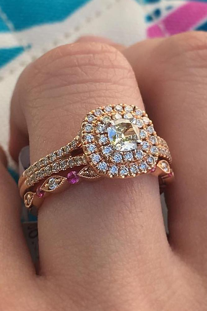 rose gold wedding rings round cut double halo modern