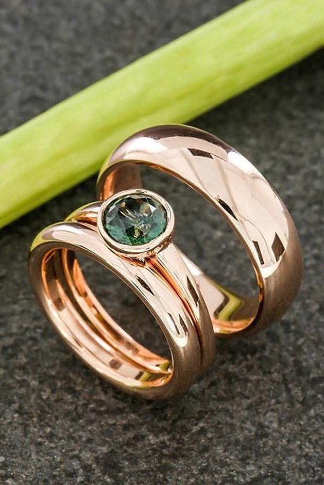 rose gold wedding rings round cut gemstone
