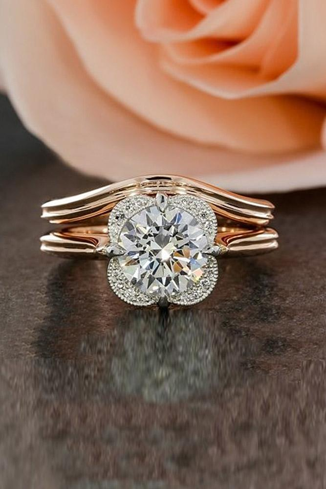 rose gold wedding rings round cut halo floral