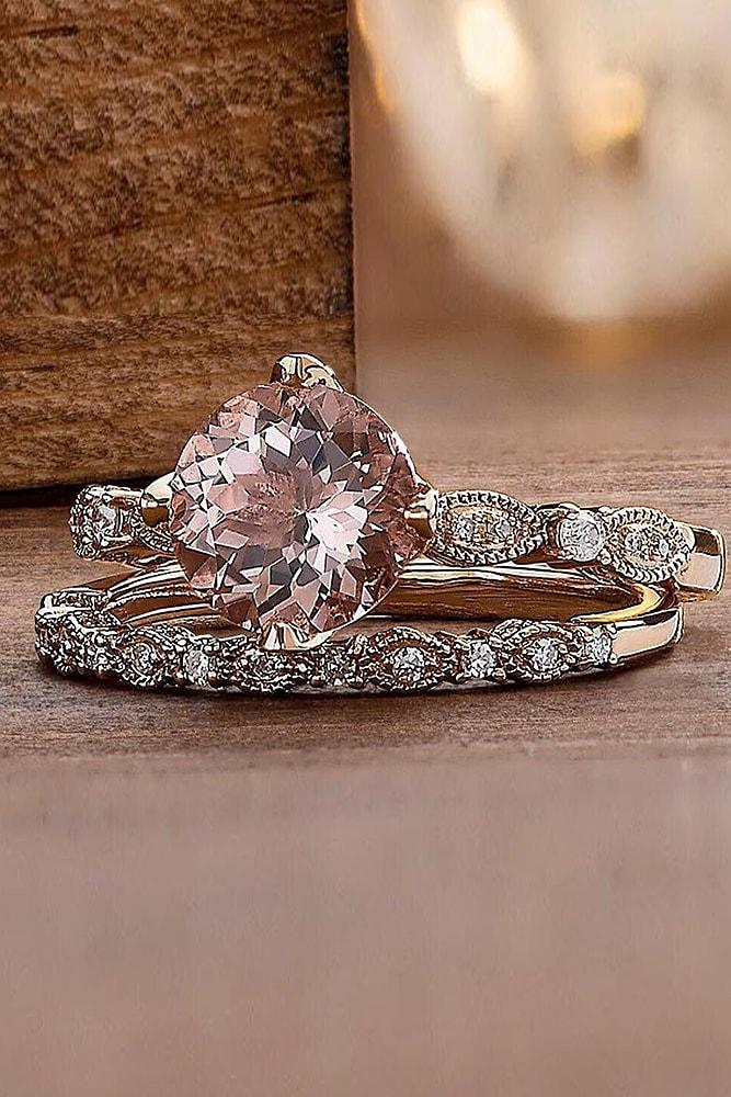 rose gold wedding rings round cut pink gemstone solitaire unique pave band