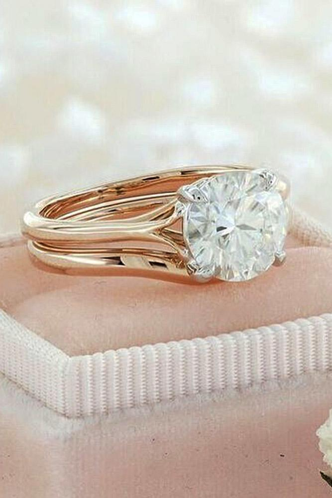 rose gold wedding rings round cut simple solitaire