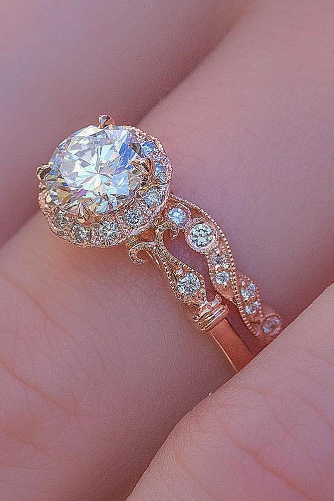 rose gold wedding rings round cut vintage set