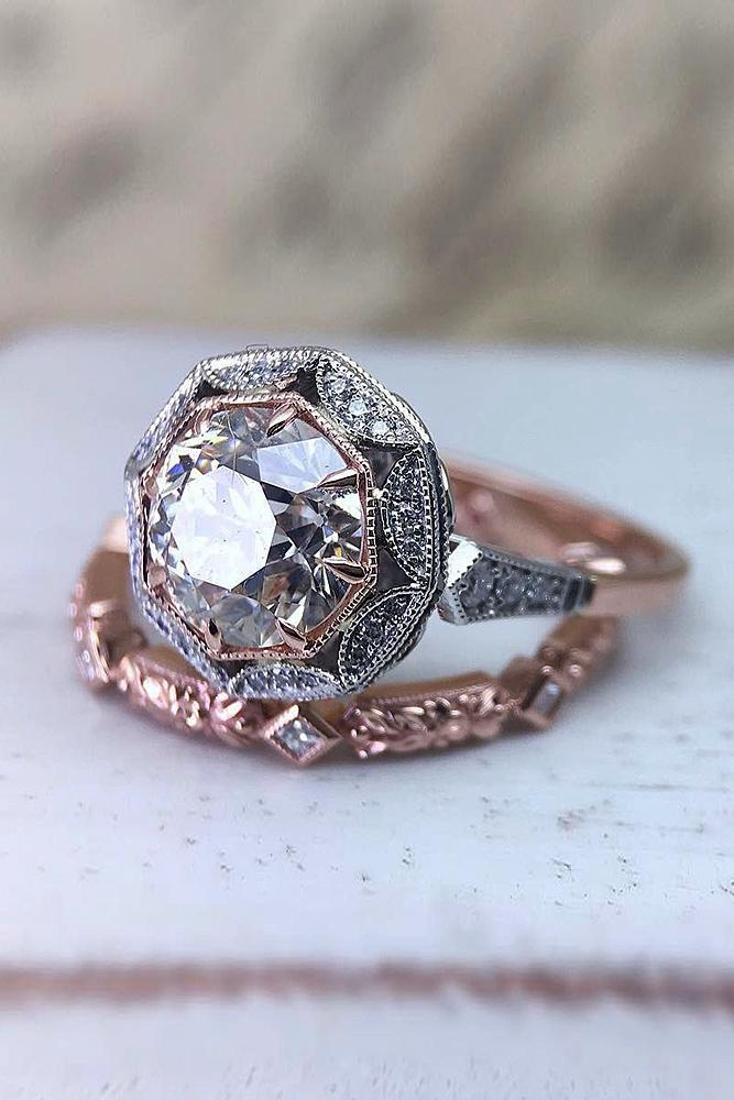 rose gold wedding rings set vintage halo round cut
