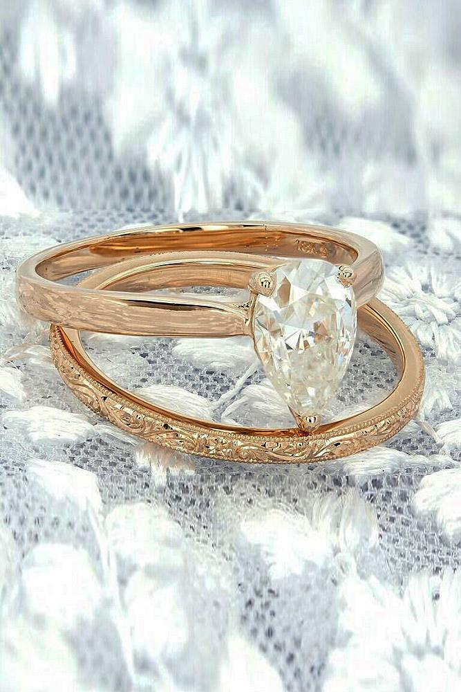 rose gold wedding rings simple pear cut solitaire