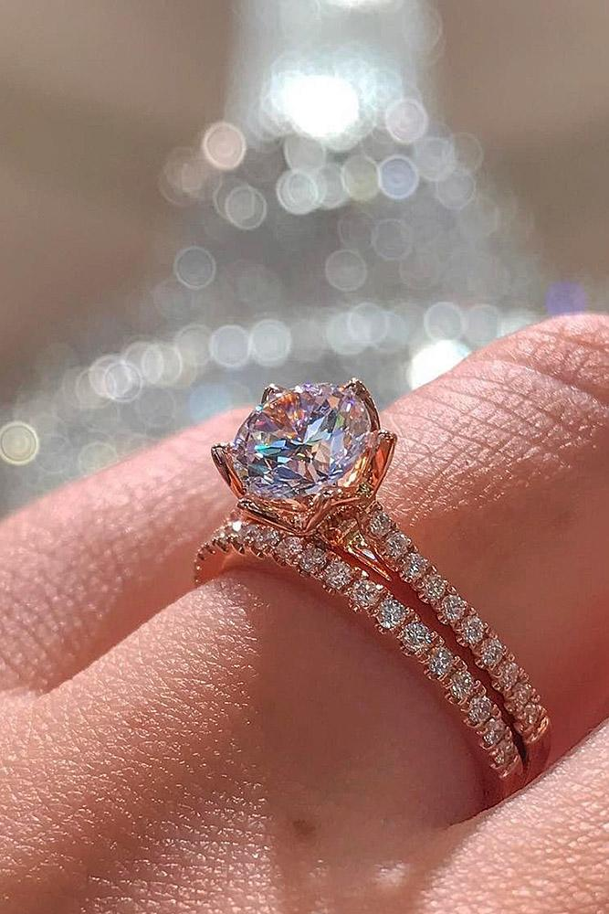 rose gold wedding rings solitaire pave band round cut
