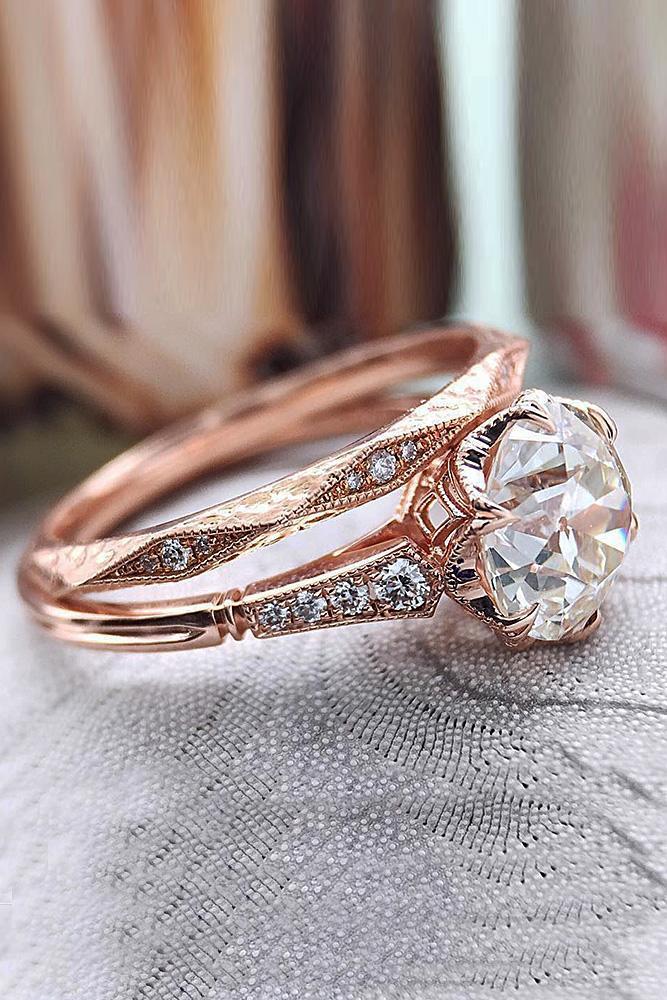 rose gold wedding rings vintage round cut diamond