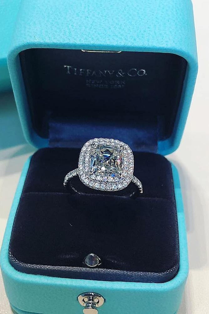 tiffany engagement rings cushion cut diamond double halo pave band