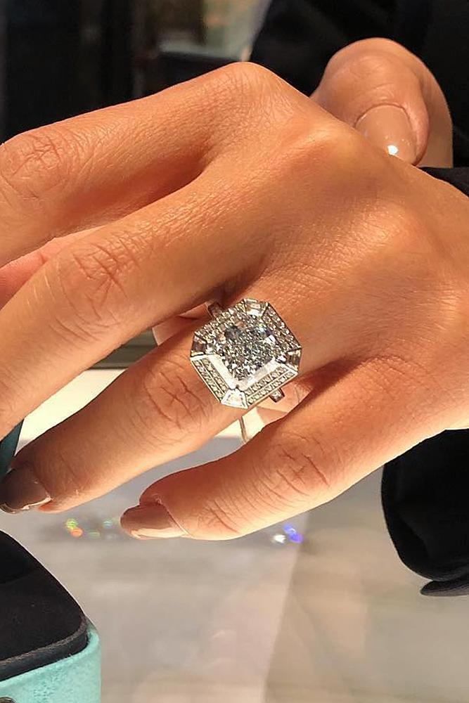 tiffany engagement rings emerald cut diamond modern white gold