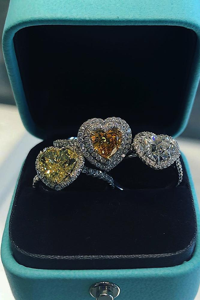 tiffany engagement rings halo pave band heart cut modern
