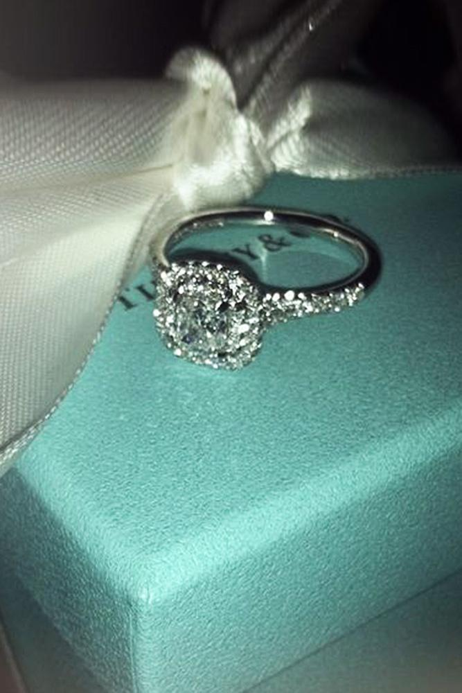 tiffany engagement rings pave band halo cushion cut