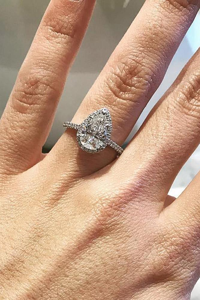 tiffany engagement rings pear cut halo pave band