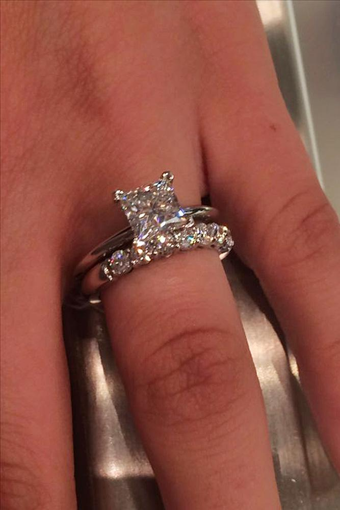 tiffany engagement rings wedding set princess cut solitaire