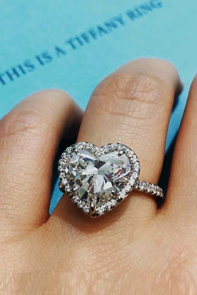 tiffany engagement rings white gold sparkling heart cut gemstone halo pave band amazing