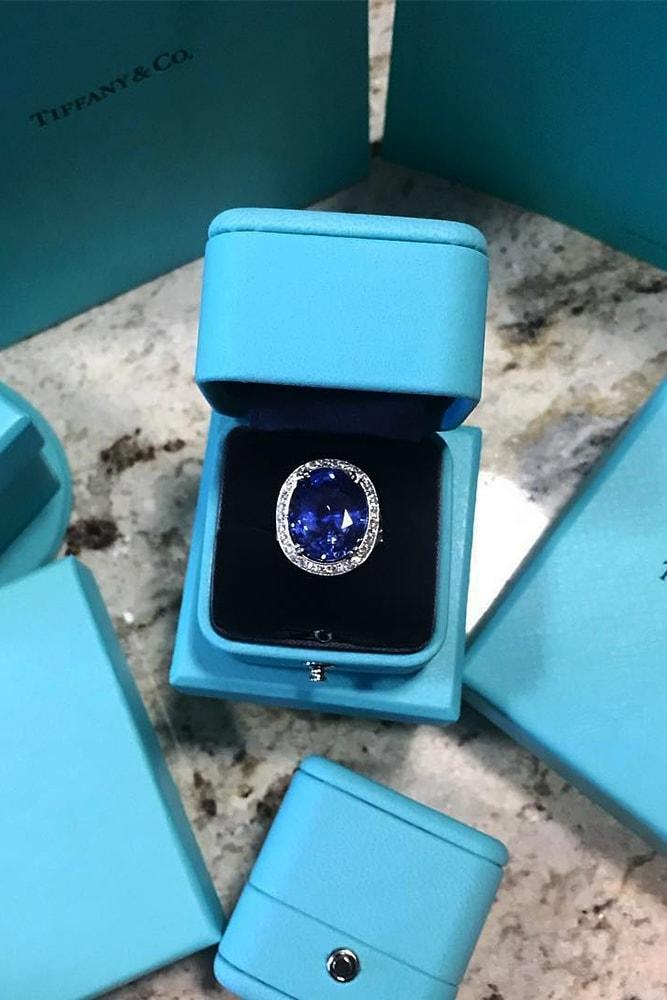 tiffany engagement rings white gold sparkling oval cut blue sapphire halo pave band