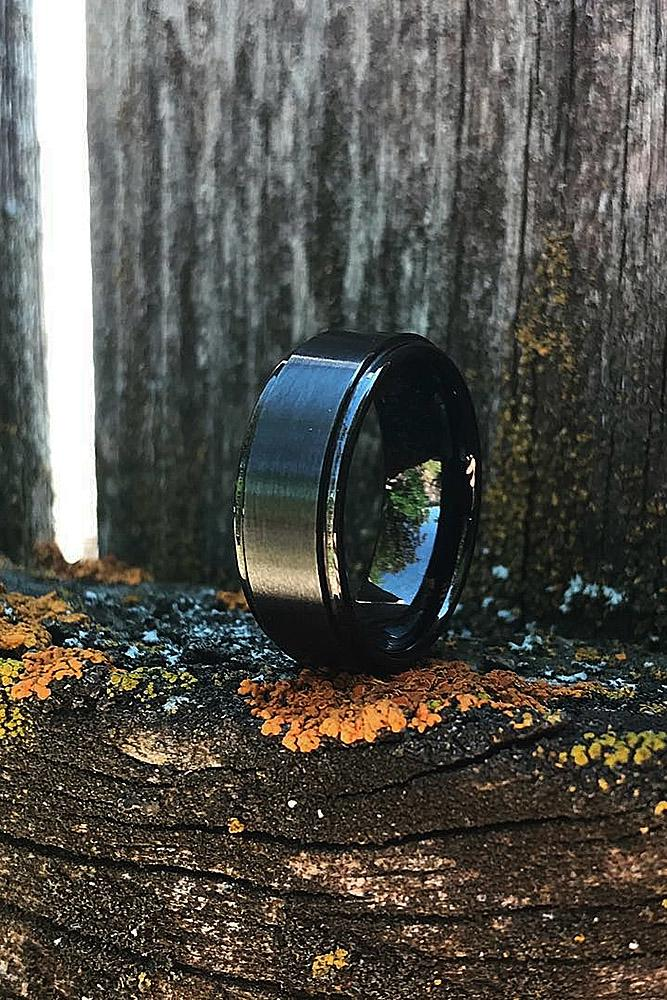 tungsten wedding bands black ring man