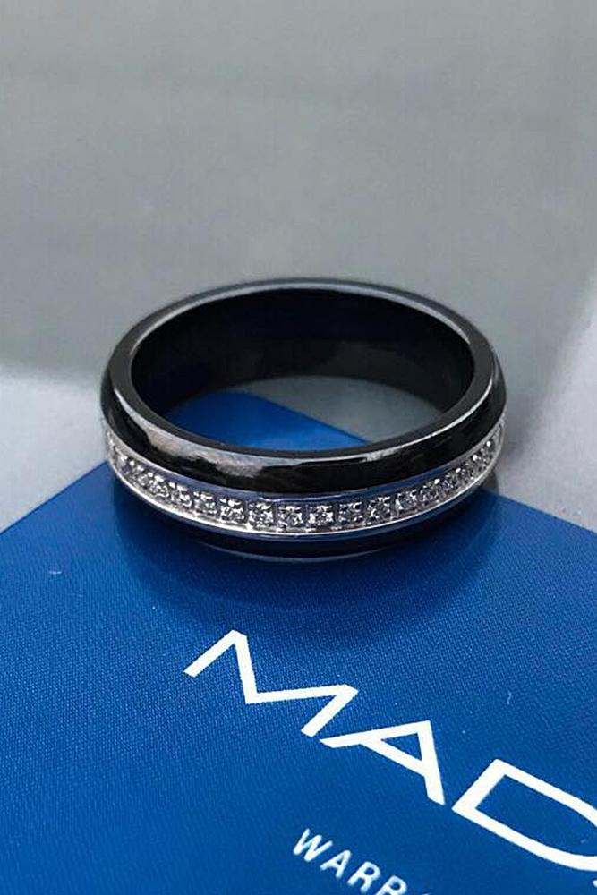 tungsten wedding bands black tungsren ring with stones inlay pave band stylish