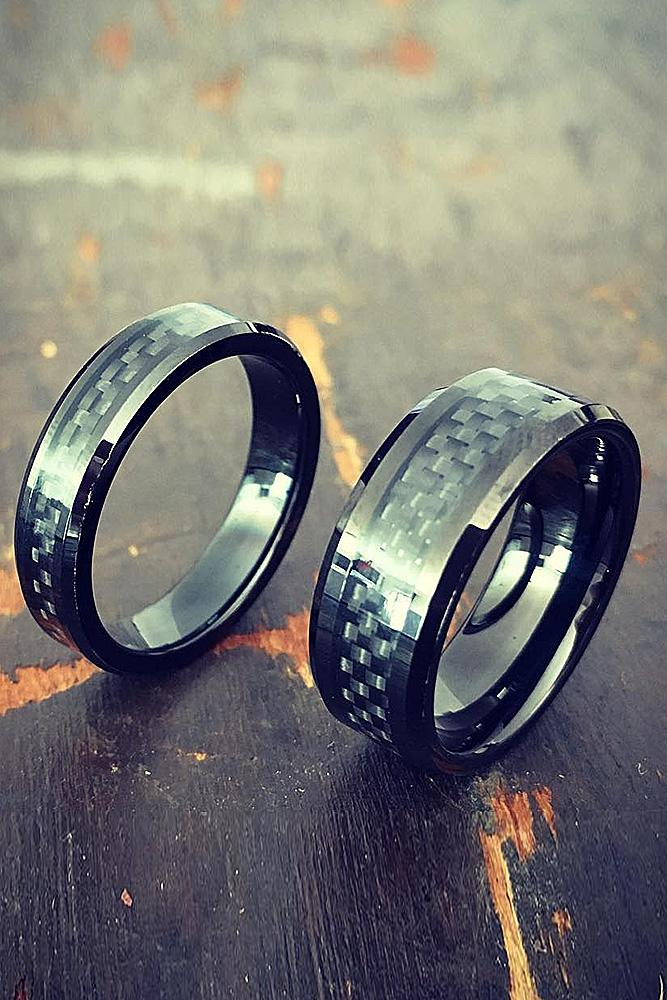 tungsten wedding bands for couple pave band in modern style