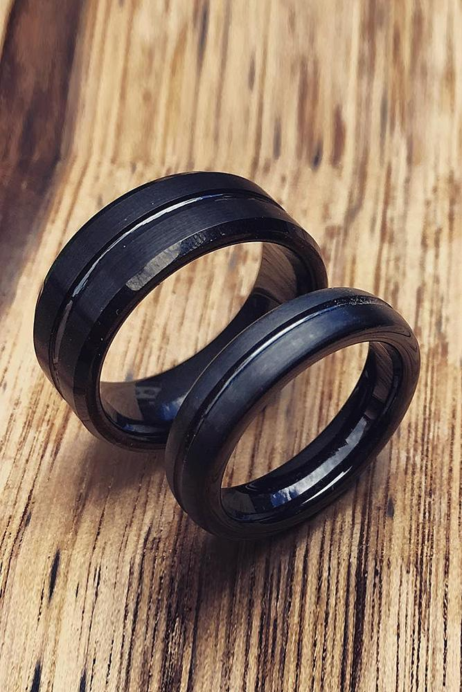 tungsten wedding bands for couple simple pave band