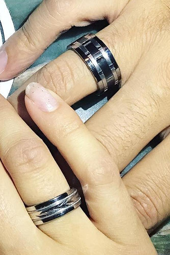 tungsten wedding bands for couple unique pave band