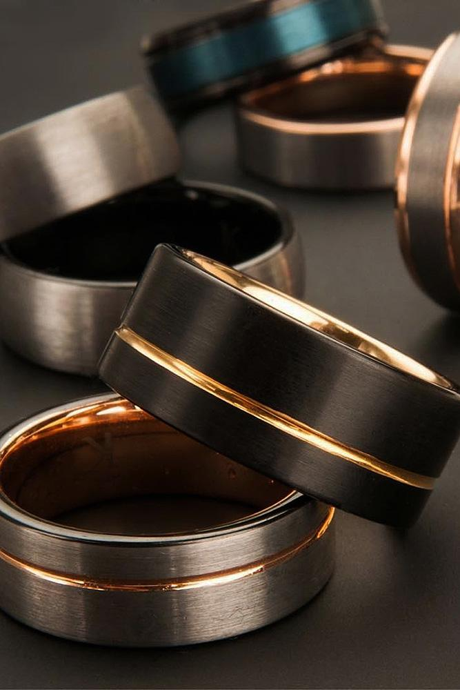 tungsten wedding bands mixed metals gold
