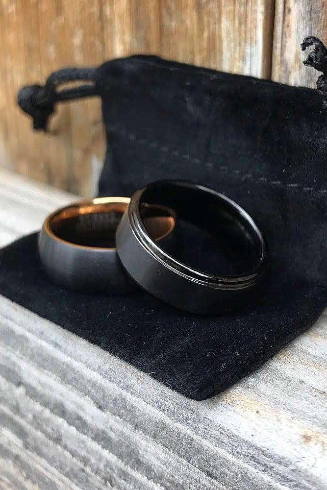 tungsten wedding bands simple black gold