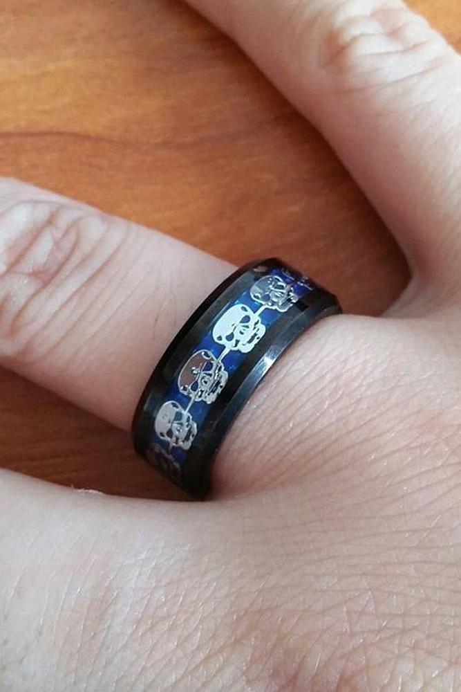 tungsten wedding bands unique pave band in modern style with skulls
