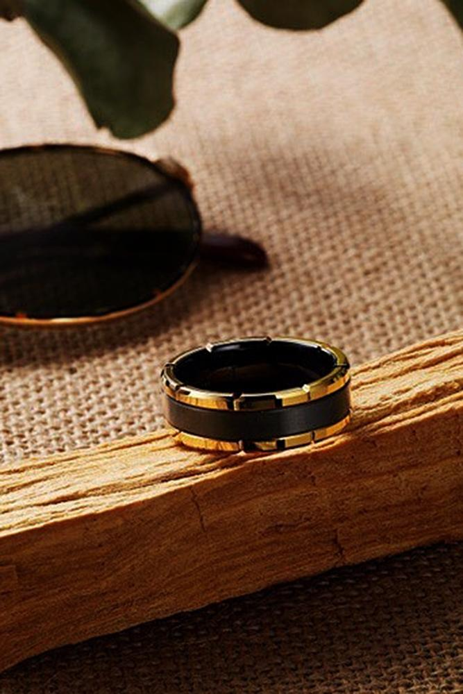 tungsten wedding bands with unique details black gold
