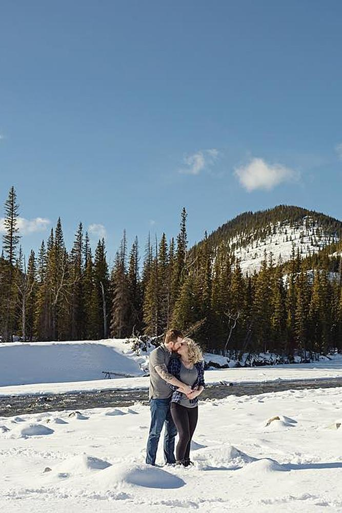 winter engagement photos nature couple love