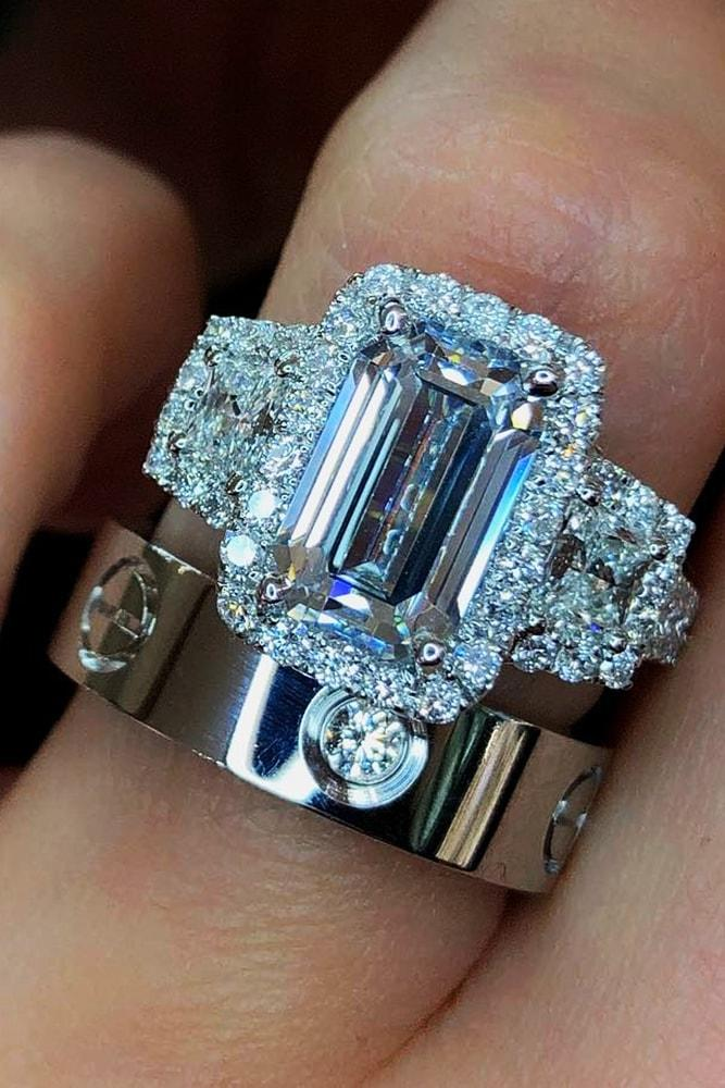 beautiful wedding ring sets amazing wedding ring sets with sparkling emerald cut diamond halo white gold