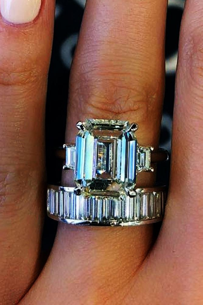beautiful wedding ring sets amazing wedding ring sets with sparkling emerald cut diamond three stones