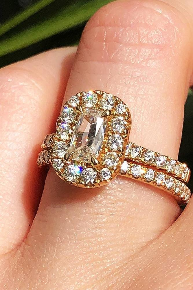 beautiful wedding ring sets brilliant yellow gold emerald cut diamond halo pave bands
