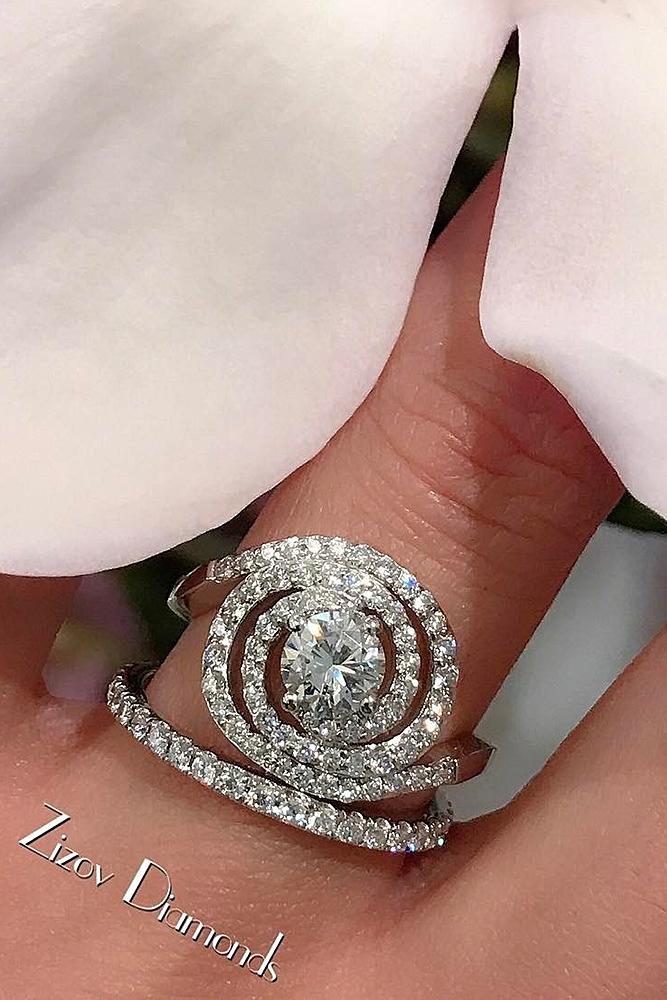 beautiful wedding ring sets diamond round cut unique