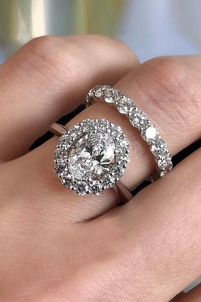 beautiful wedding ring sets floral halo rose gold