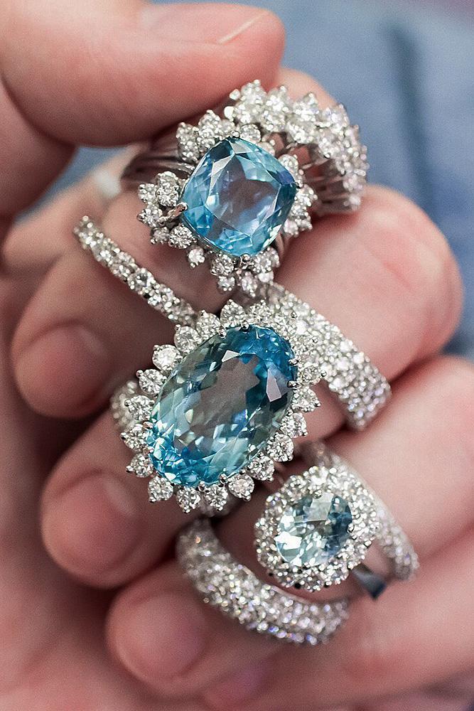 beautiful wedding ring sets halo vintage gemstone pave band