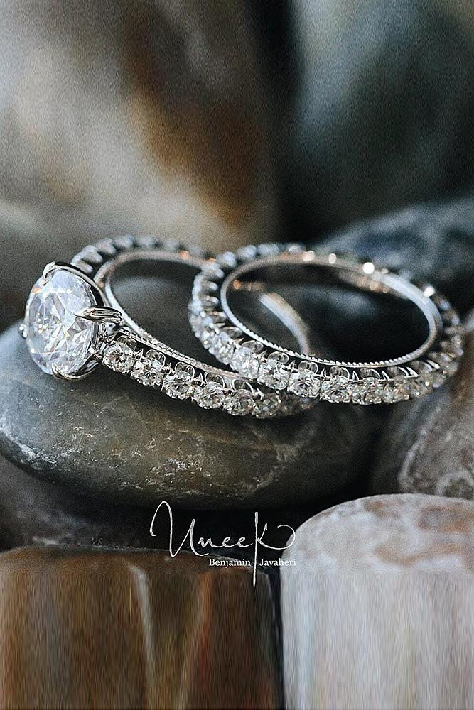 beautiful wedding ring sets pave band round cut