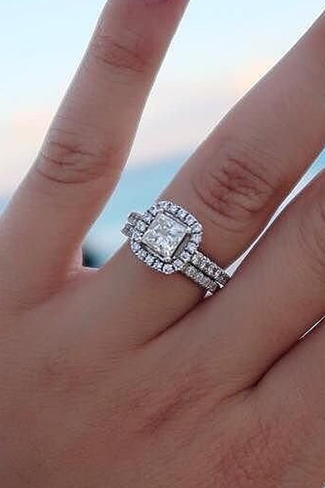 beautiful wedding ring sets princess cut halo pave band