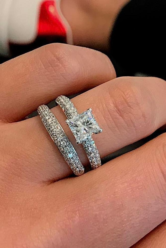 beautiful wedding ring sets princess cut solitaire