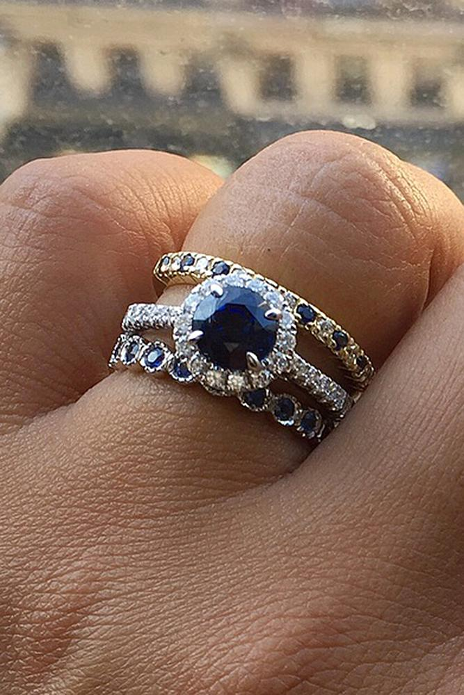 beautiful wedding ring sets round cut sapphire halo pave band