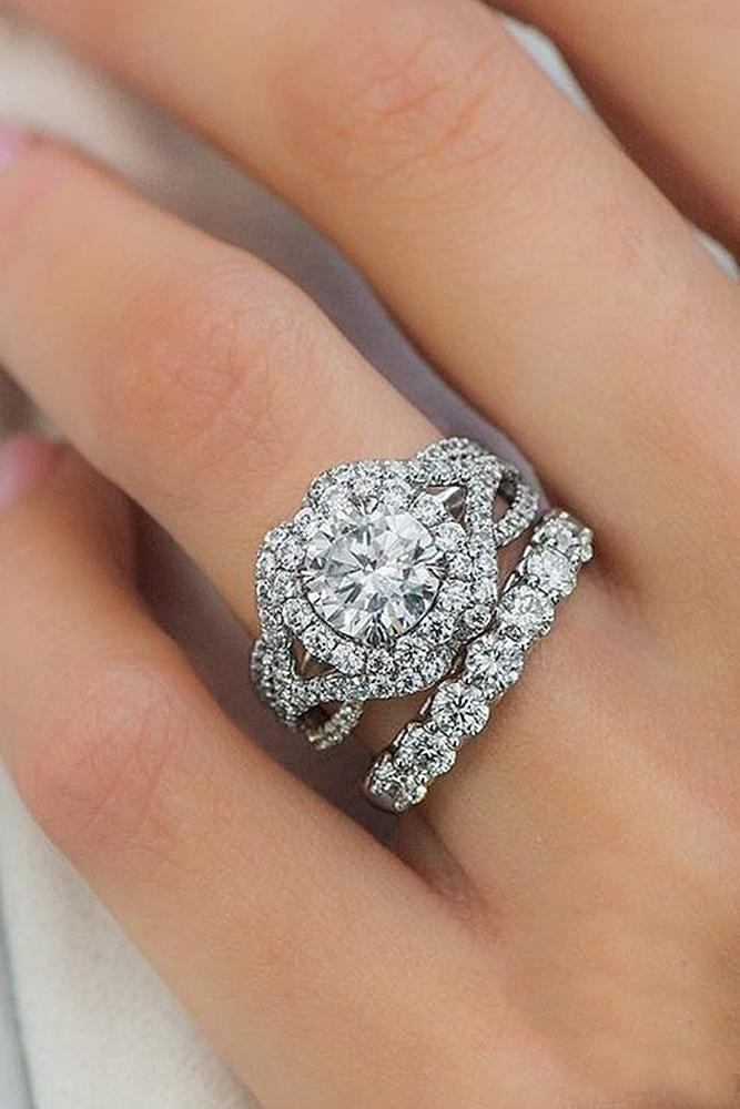 beautiful wedding ring sets twist pave band halo