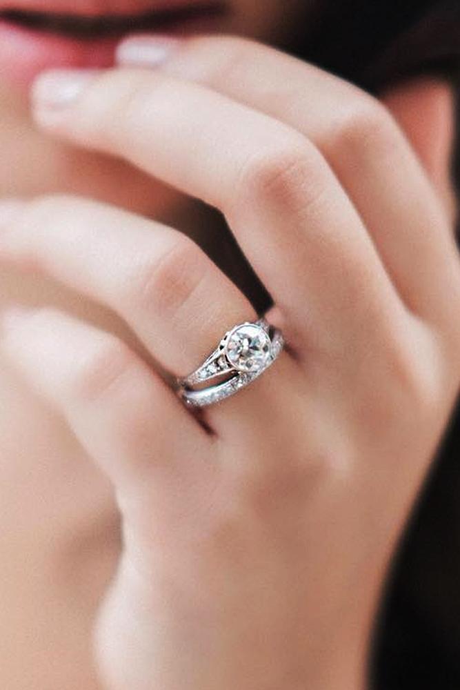 beautiful wedding ring sets white gold round cut diamond