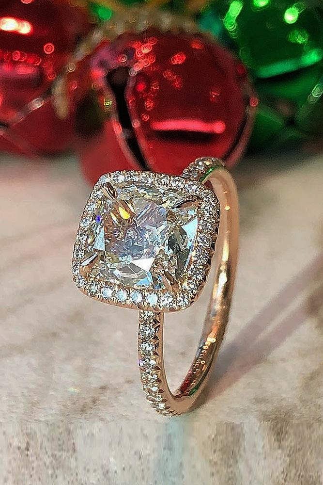 best rose gold engagement rings diamond halo pave band